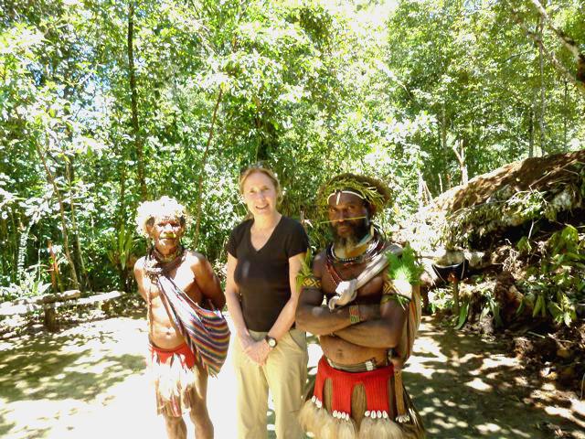 Helen with Men in New Guinea